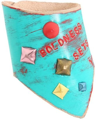 Leather Couture by Jessica Galindo - Classic Freeform Cuff--Free (Turquoise/Red) - Jewelry