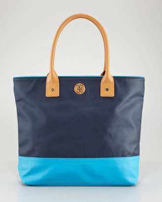 Tory Burch Jaden Colorblock Tote Bag, Blue/Turquoise