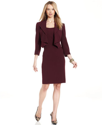 Tahari by Arthur S. Levine Tahari by ASL Suit, Cascade-Collar Cropped Jacket & Sheath Dress