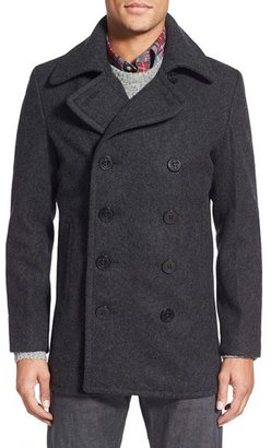 Men's Schott Nyc Slim Fit Wool Blend Peacoat $400 thestylecure.com