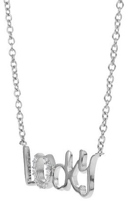 """Tressa Collection Cubic Zirconia """"Lucky"""" Horseshoe Pendant in Sterling Silver"""