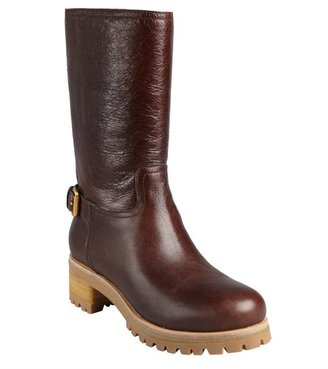 Prada Sport chocolate cracked leather buckled boots