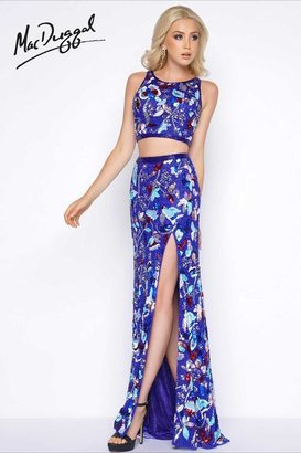 Cassandra Stone - 1062 Two Piece High Neck Gown In Midnight Multi-Color