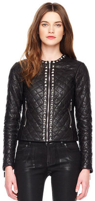 Michael Kors Stud-Trim Quilted Leather Jacket