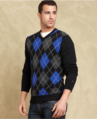 Tommy Hilfiger Sweater, Brighton Argyle V-Neck Sweater- European Collection