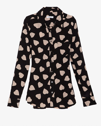Equipment Brett Heart Print Blouse