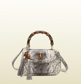 Gucci New Bamboo Animalier Karung Printed Top Handle Bag