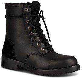 UGG Women's Kilmer Round Toe Leather & Sheepskin Boots