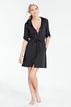 Lands' End Women's Cotton Jersey Roll Sleeve Cover-up