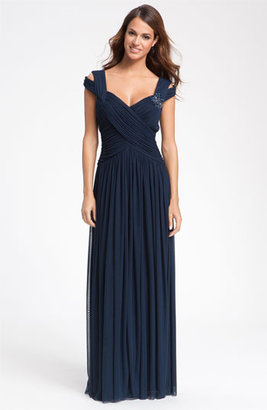 JS Collections Beaded Mesh Gown