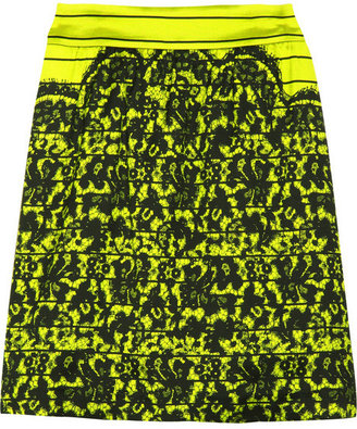 Tibi Lace-print silk-blend skirt