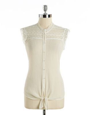 Lucky Brand Sleeveless Lace & Chiffon Tie-Hem Blouse