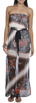 Wet Seal WetSeal Chiffon Printed Maxi Dress Black