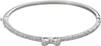 Sophie Miller Sterling Silver Cubic Zirconia Bow Bangle Bracelet