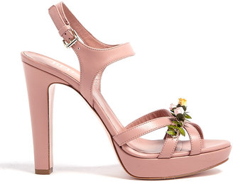 RED Valentino Flower Appliqué Leather High Sandals