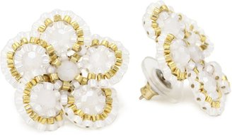 Miguel Ases Opalite Quartz Flower Stud Earrings
