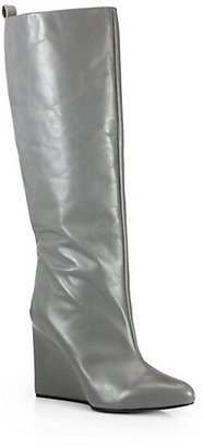 See by Chloe Leather Knee-High Wedge Boots