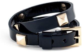 Fallon Classique Double Wrap Pyramid Bracelet, Black Patent Leather