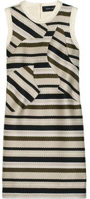 Derek Lam Woven-paneled linen-blend dress