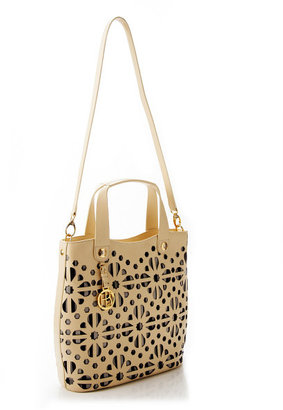 Henri Bendel Brown & White Laser Cut Tote