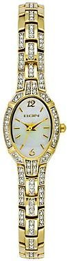 Elgin Women's Gold-Tone Oval Crystal-Accent Watch