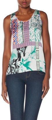 The Limited Forenza Printed Back Placket Tank