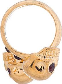 Alexander McQueen Gold Spiral Twin Skull Ring