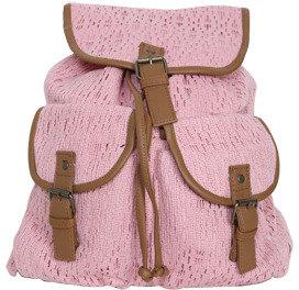 Wet Seal WetSeal Crochet Leatherette Trim Backpack Blush