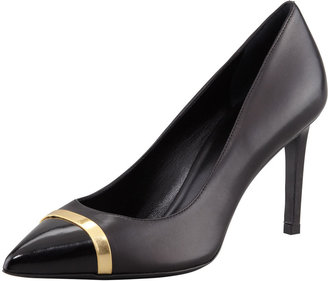 Saint Laurent Paris Pointed Cap-Toe Pump