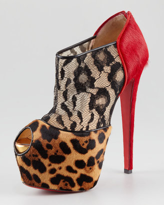 Christian Louboutin Aeronotoc Calf Hair & Lace Red Sole Bootie