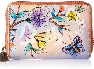 Anuschka Women's Handpainted Leather Credit AND Business Card Holder-japanese Garden One Size