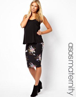 Asos Midi Pencil Skirt In Vintage Floral Print