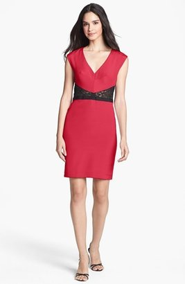 Nicole Miller Lace Inset Sheath Dress