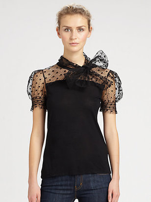 RED Valentino Swiss-Dot Lace Top