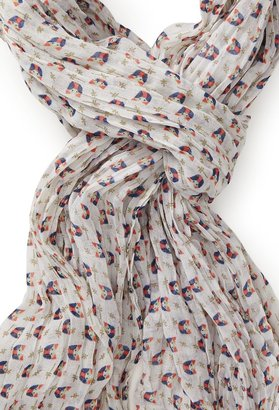 Forever 21 Spotted Bird Crinkle Scarf