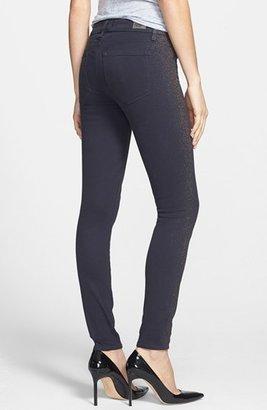 Paige 'Verdugo' Glitter Ultra Skinny Jeans (Grey Rose Gold)