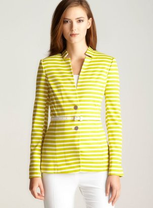 Calvin Klein Stripe Ponte Belted Jacket