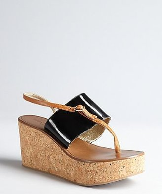 Bernardo 1946 black and tan patent leather 'Lyford' cork platform thong sandals