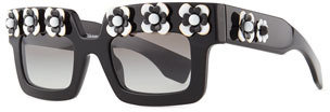 Prada Flower Square Sunglasses, Black/White