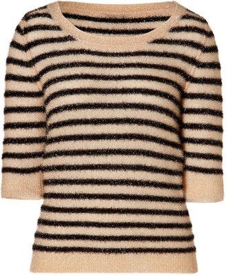 Sonia Rykiel Sonia by Striped Knit Top in Pouder/Noir