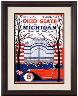 Mounted Memories Wall Art, Framed Michigan vs Ohio State Football Program Cover 1925