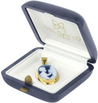 Del Gatto Loving Mother Agate 18k Gold Cameo Pendant