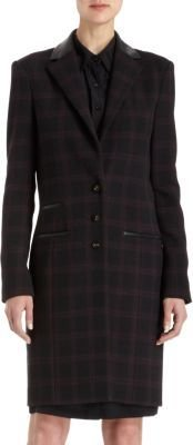 Holmes & Yang Plaid Leather Trimmed Coat