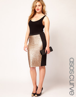 Asos Pencil Skirt With Sequin Panel