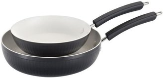 Paula Deen Savannah Collection 9 in. and 11.25 in. Aluminum Nonstick Skillet in Black (2-Pack)