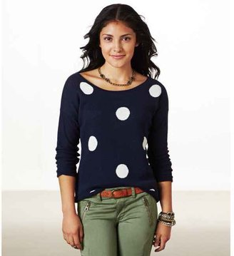 American Eagle AE Polka Dot Crew Sweater