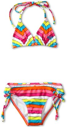 Roxy Kids - Caliente Sun Tiki Tri Set (Big Kids) (Fuchsia) - Apparel