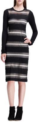 Derek Lam 10 Crosby Long-Sleeve Sheer-Stripe Dress