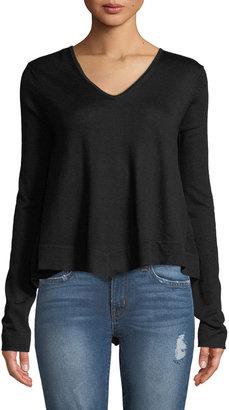 Derek Lam 10 Crosby Ventura V-Neck High-Low Tiered Sweater