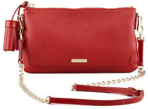 Burberry Leather Tassel Crossbody Bag, Red